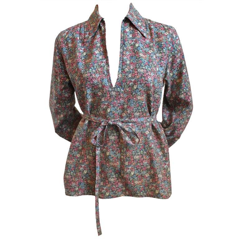 1970's YVES SAINT LAURENT floral peasant blouse with belt