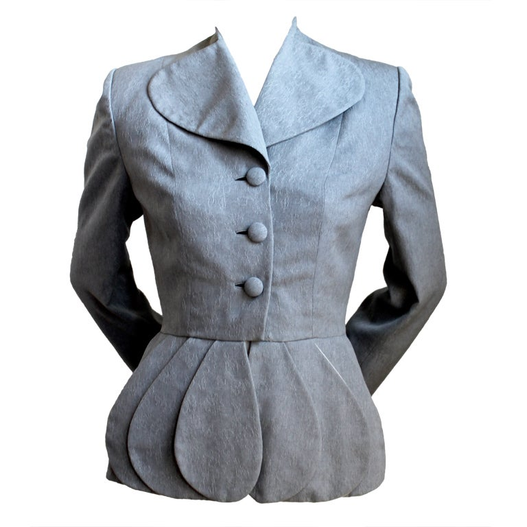 *SALE* 40's LILLI ANN grey brocade jacket with peplum WAS $295 NOW $175