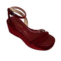 1997 PRADA red velvet platform sandals - unworn