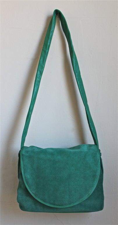 1980's BOTTEGA VENETA slouchy jade suede bag 3