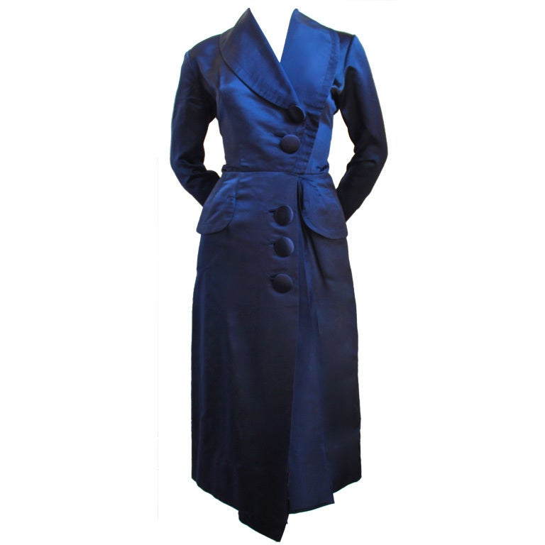 1940's JACQUES FATH navy satin dress 1