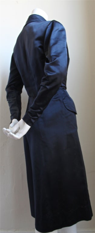 1940's JACQUES FATH navy satin dress 2