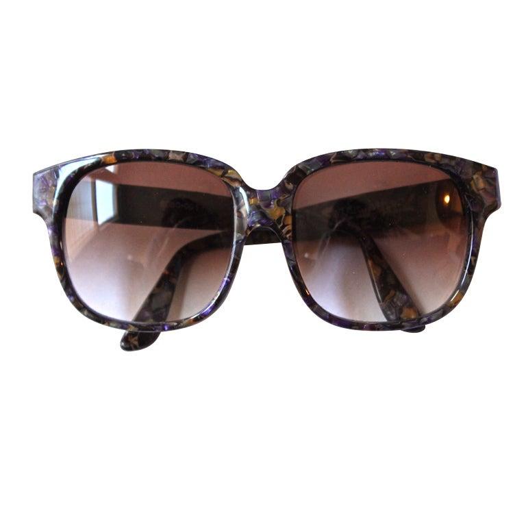 EMMANUELLE KHANH marbled oversized sunglasses For Sale