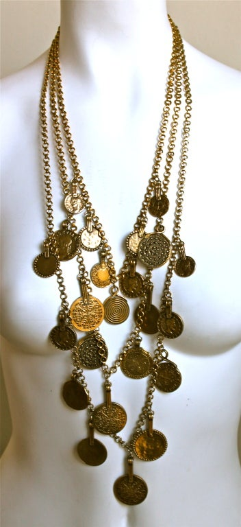 YVES SAINT LAURENT layered coin necklace image 2