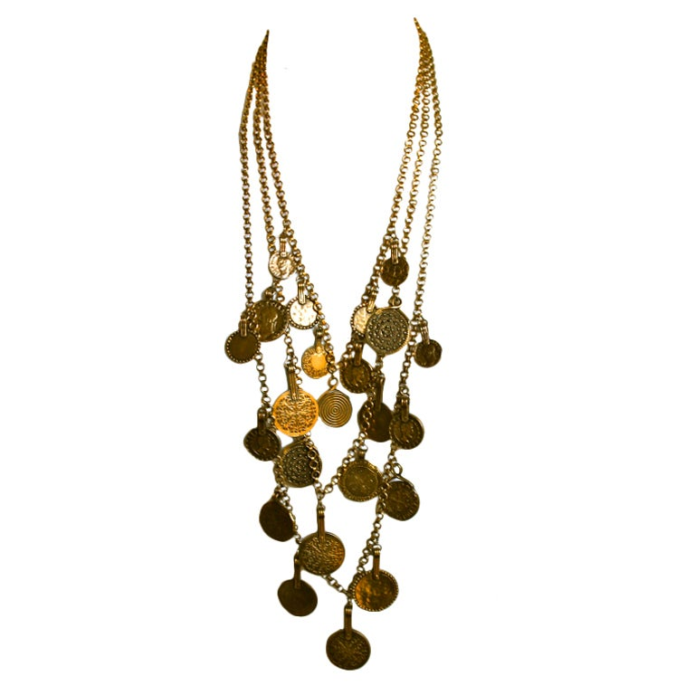 YVES SAINT LAURENT layered coin necklace