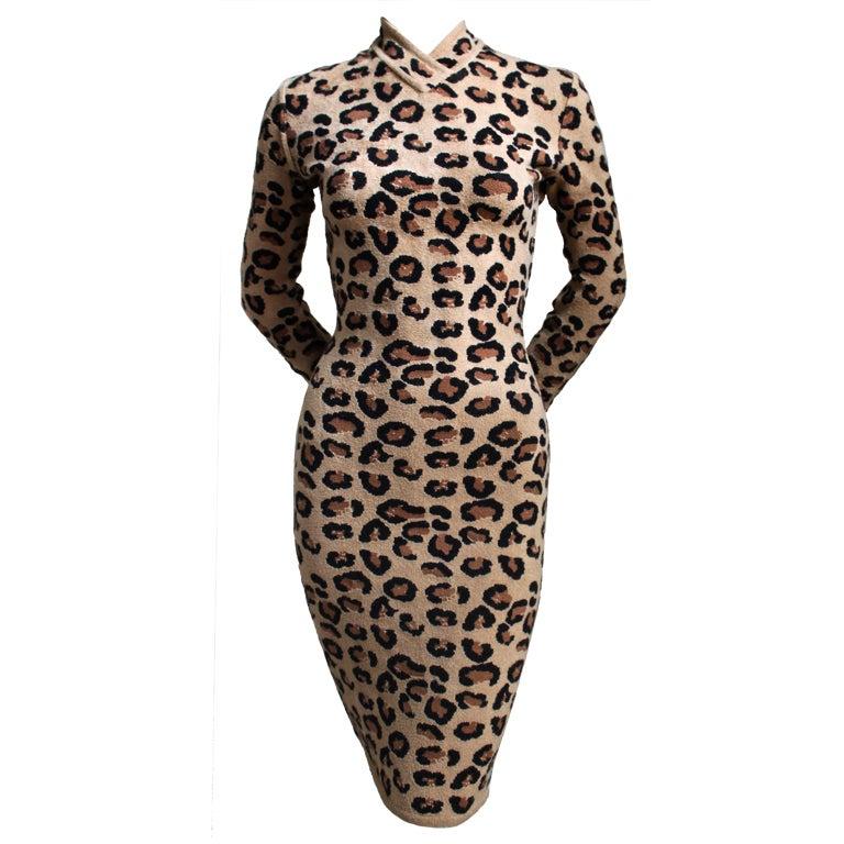 very rare AZZEDINE ALAIA leopard knit dress 1