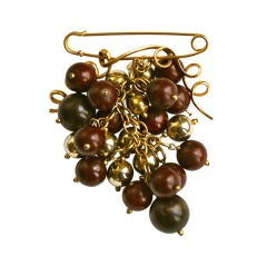 1990's YVES SAINT LAURENT rive gauche brooch with wooden beads