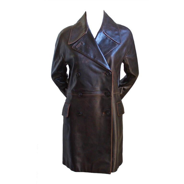 AZZEDINE ALAIA brown double breasted leather coat For Sale