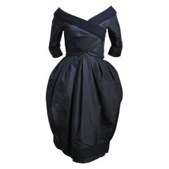 1959/1960 CHRISTIAN DIOR haute couture black silk bubble dress
