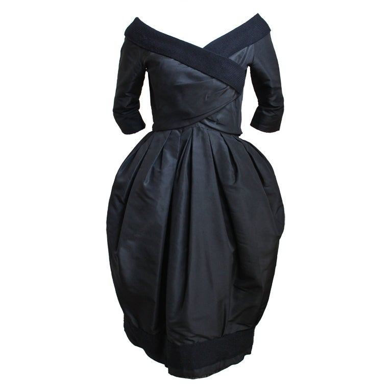 1959 1960 christian dior haute couture black silk bubble for Dior couture dress price