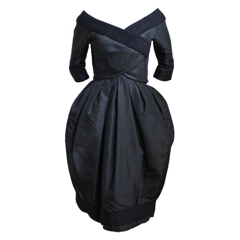 1959 1960 christian dior haute couture black silk bubble for 1960 s haute couture