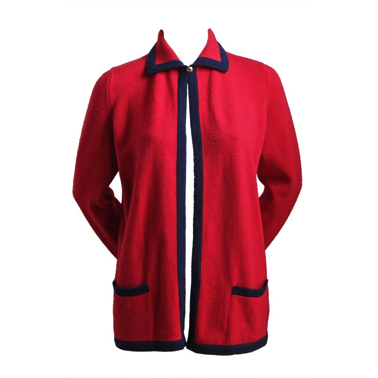 1980's CHANEL red and navy cashmere cardigan 1