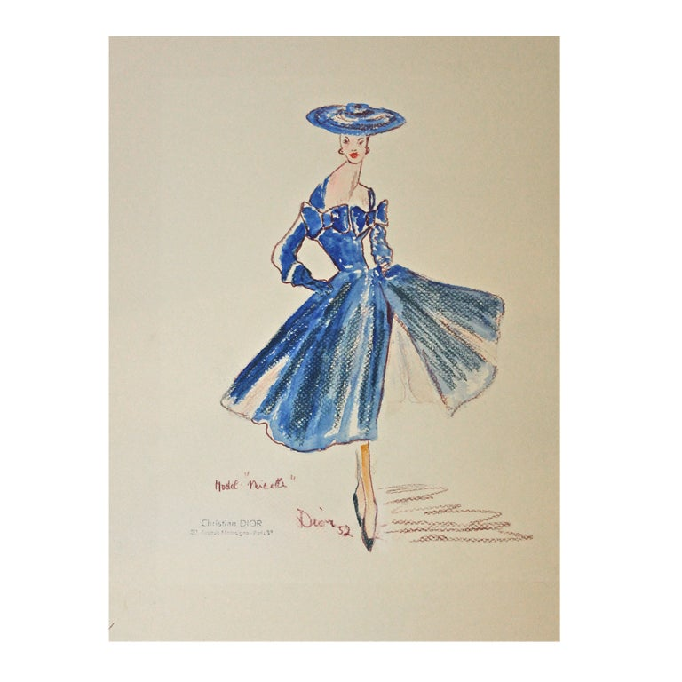 Very Rare 1952 Christian Dior Fashion Sketch At 1stdibs