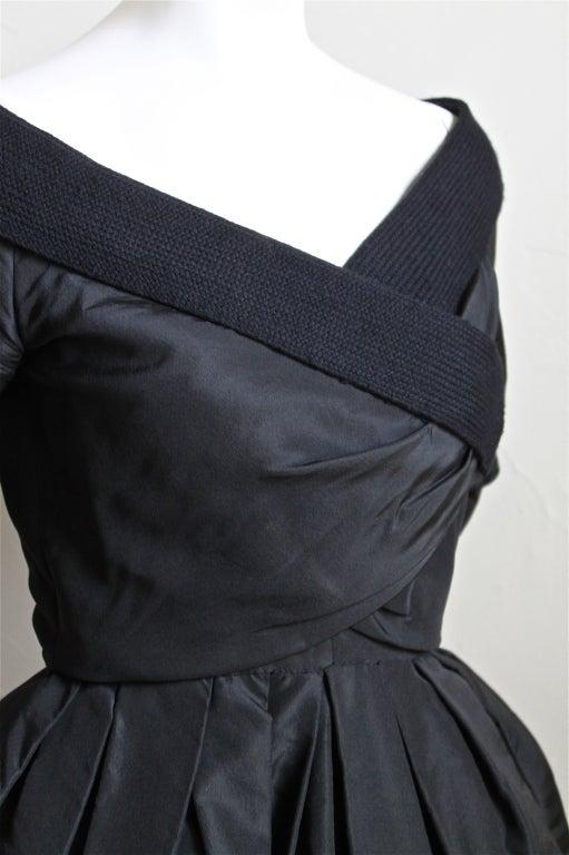 1959 1960 Christian Dior Haute Couture Black Silk Bubble