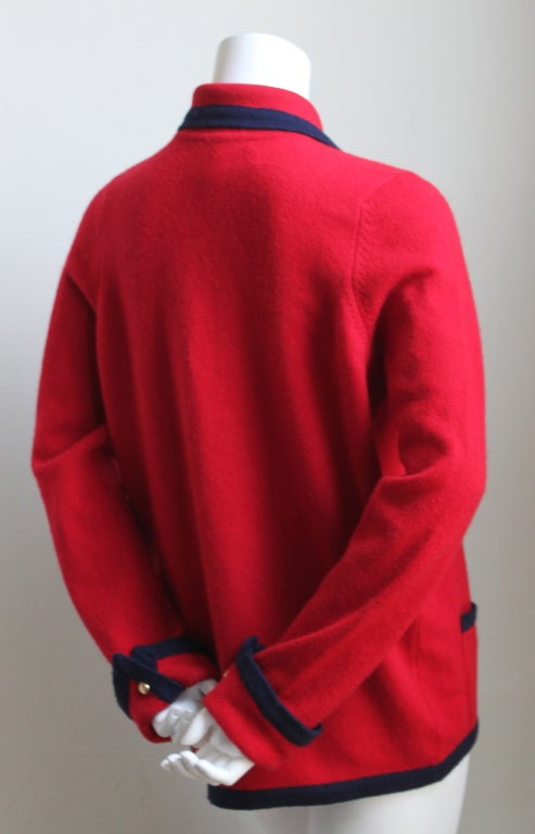 1980's CHANEL red and navy cashmere cardigan 2