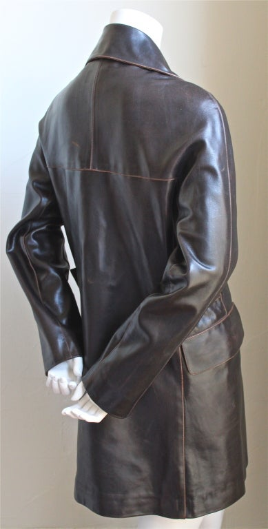 Black AZZEDINE ALAIA brown double breasted leather coat For Sale