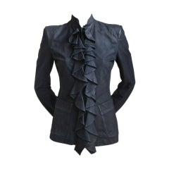 TOM FORD / YVES SAINT LAURENT leather jacket with ruffle - 2003