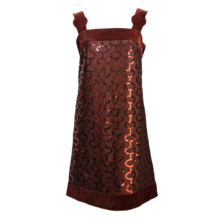 1960 39 s pierre cardin brown sequined haute couture dress for 1960 s haute couture
