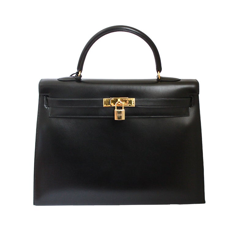 HERMES KELLY 35 cm black box leather rigid bag / gold hardware