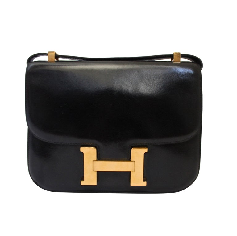 1972 HERMES black box leather Constance bag with gold hardware 1