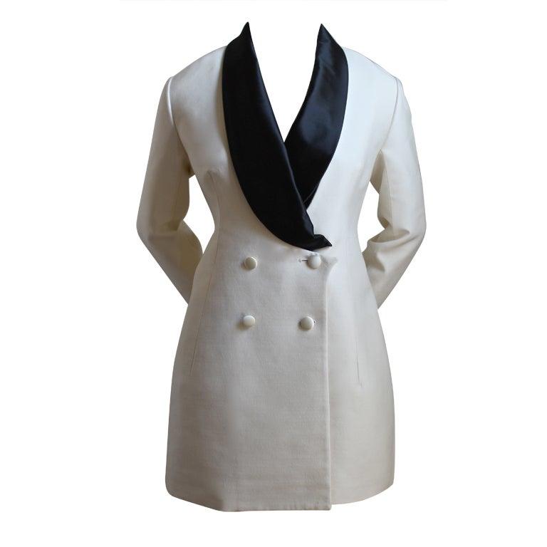 YVES SAINT LAURENT ivory wool tuxedo dress with black silk 1