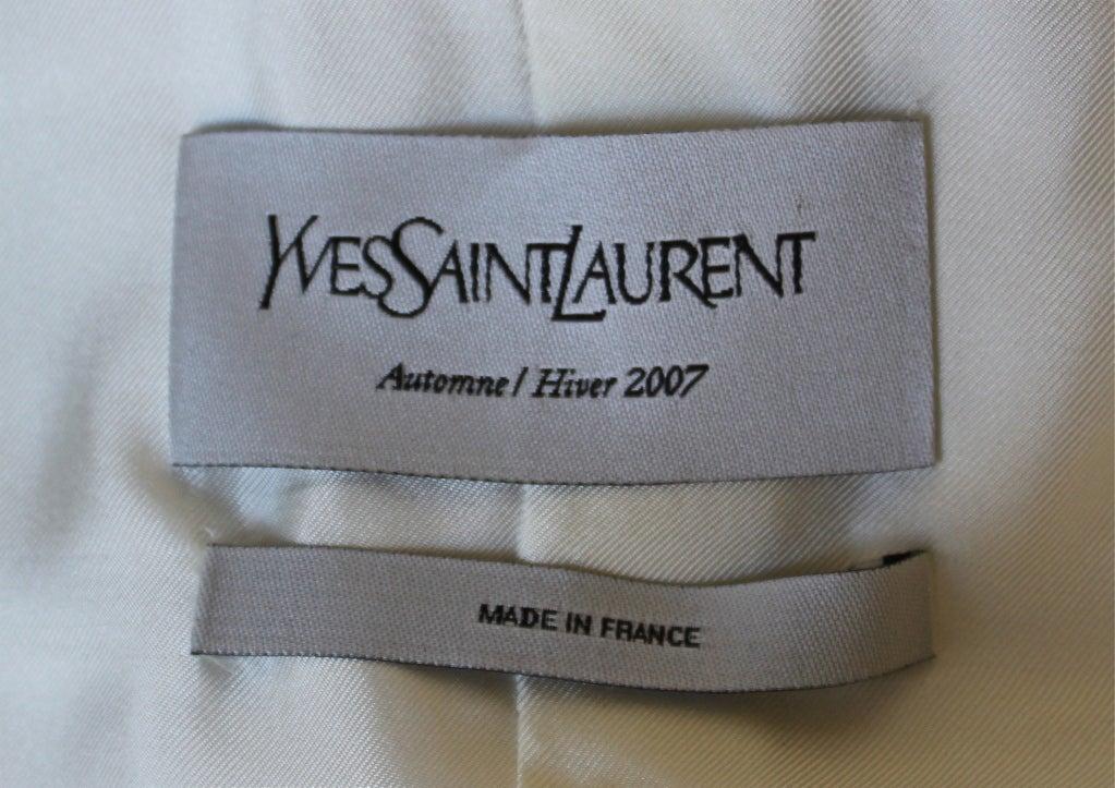 YVES SAINT LAURENT ivory wool tuxedo dress with black silk 2
