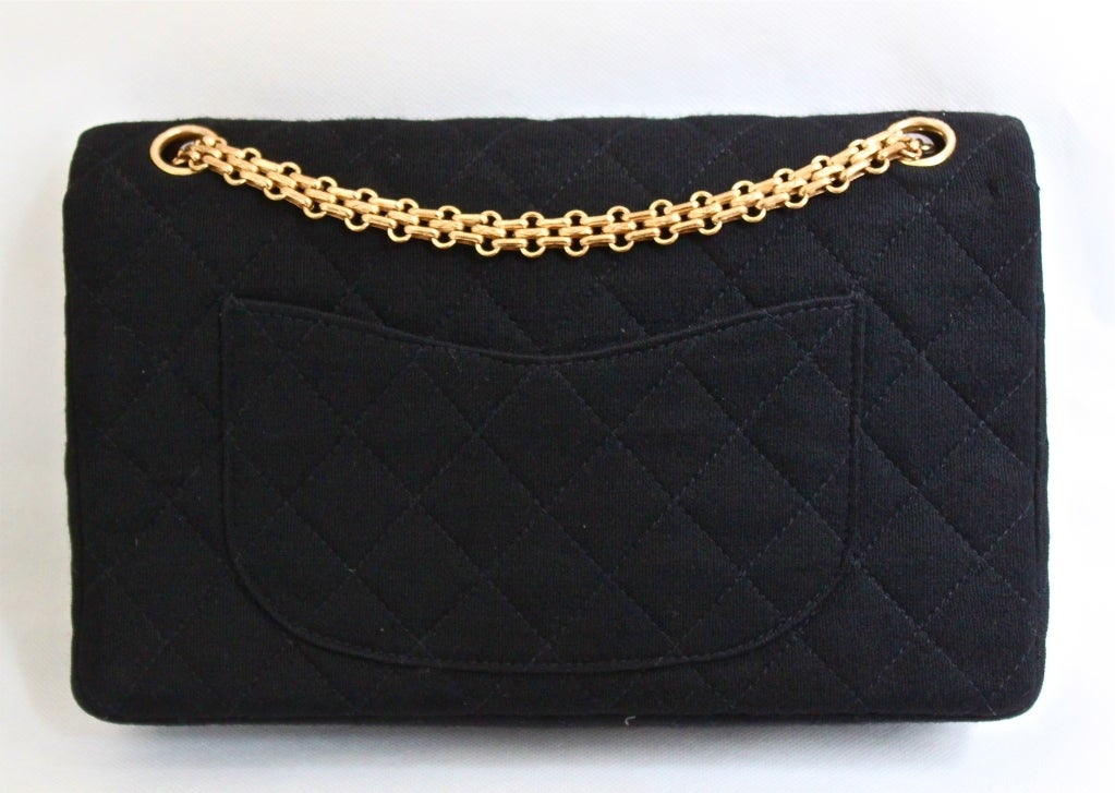 very rare 1960's CHANEL black jersey '2.55' quilted black 2