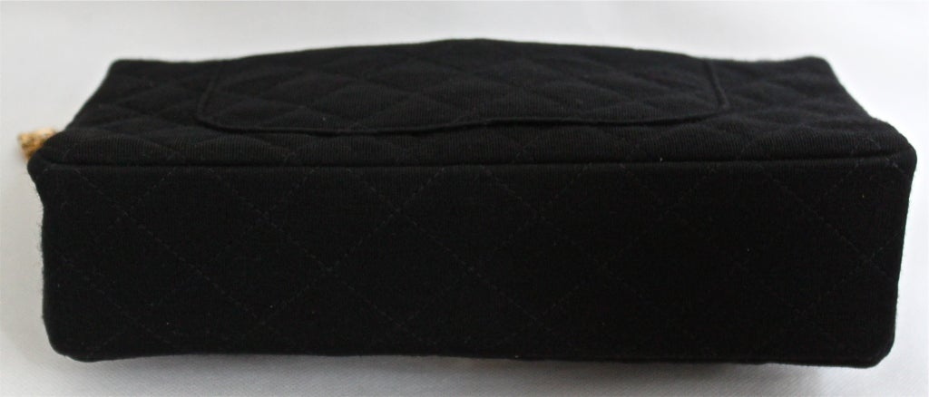 very rare 1960's CHANEL black jersey '2.55' quilted black 3