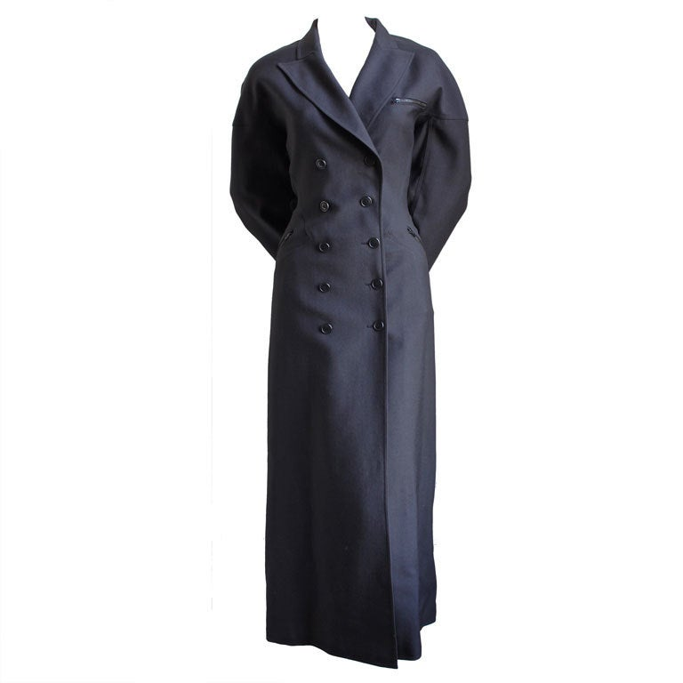 1980's AZZEDINE ALAIA charcoal wool gabardine coat with seamed back 1
