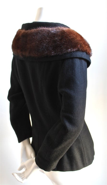 1950's LILLI ANN jet black wool jacket with mink trim 2