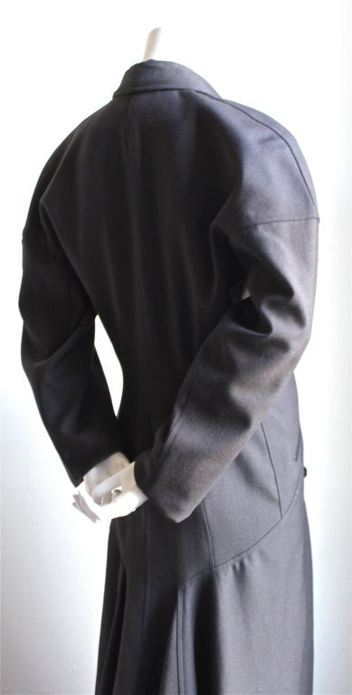 1980's AZZEDINE ALAIA charcoal wool gabardine coat with seamed back 2