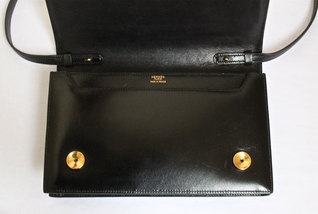 HERMES Annie black box leather clutch with gold hardware & strap For Sale 3