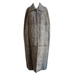 1960's CRISTOBAL BALENCIAGA haute couture wool tweed cape