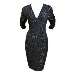 1990's PAMELA DENNIS black jersey dress with topaz rhinestones
