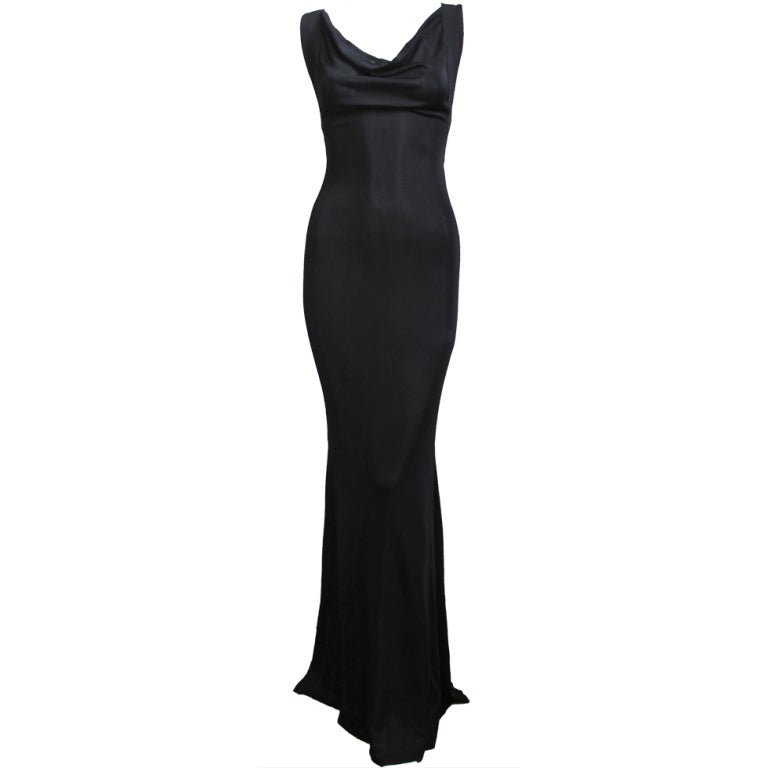 ALEXANDER MCQUEEN black jersey gown with cross back