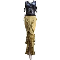 TOM FORD - YVES SAINT LAURENT beaded top & chartreuse skirt 2003
