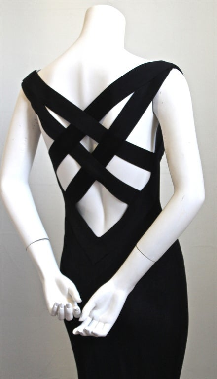 ALEXANDER MCQUEEN black jersey gown with cross back image 3