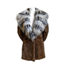 Neiman Marcus Sorbara carved mink coat with cross fox fur trim