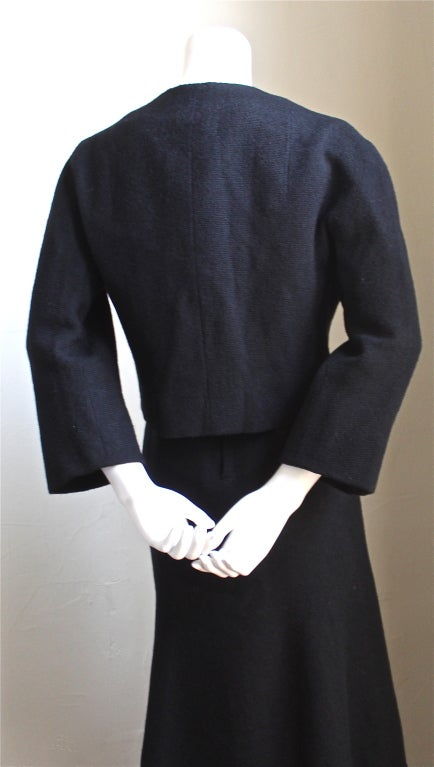 Black JACQUES HEIM haute couture black wool jacket and dress For Sale