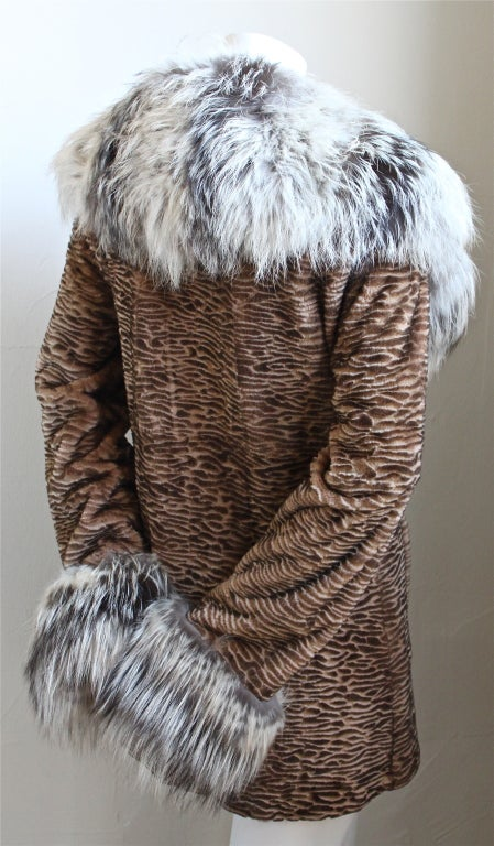 neiman marcus sorbara carved mink coat with cross fox fur. Black Bedroom Furniture Sets. Home Design Ideas