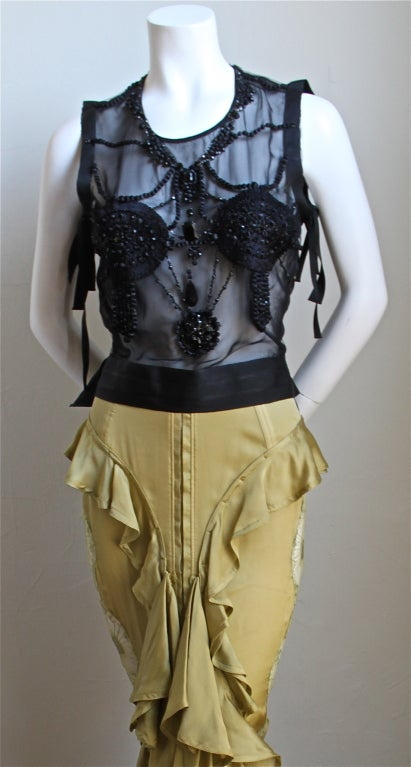 TOM FORD - YVES SAINT LAURENT beaded top & chartreuse skirt 2003 2