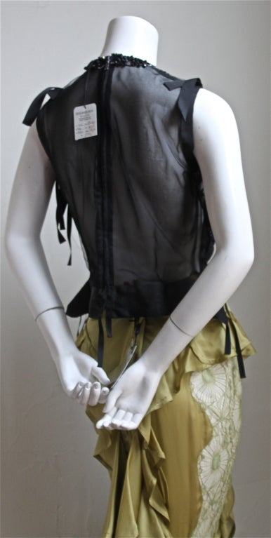 TOM FORD - YVES SAINT LAURENT beaded top & chartreuse skirt 2003 3