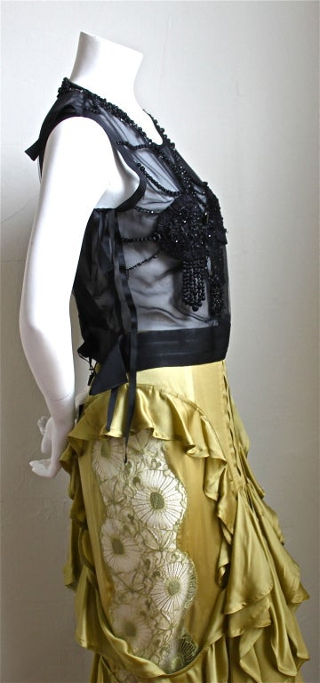 TOM FORD - YVES SAINT LAURENT beaded top & chartreuse skirt 2003 4
