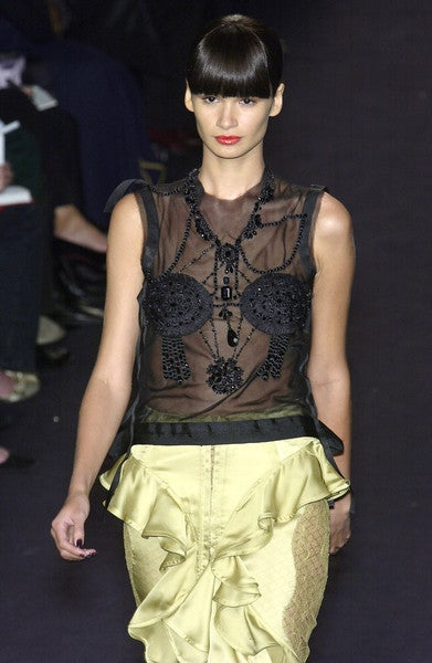 TOM FORD - YVES SAINT LAURENT beaded top & chartreuse skirt 2003 7
