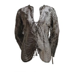 JEAN PAUL GAULTIER brown embroidered ribbon blouse