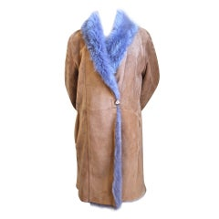 custom made tan & purple reversible shearling coat with fox trim