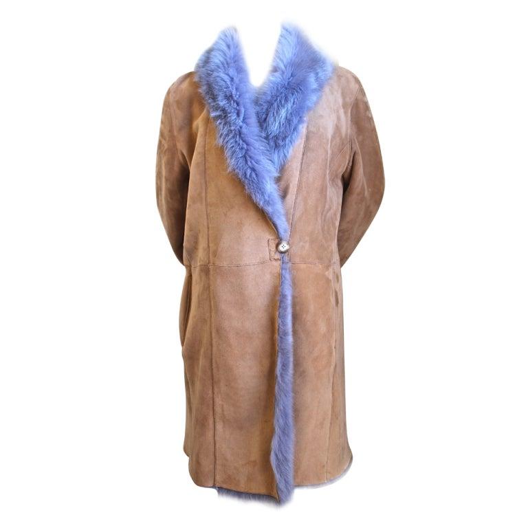 custom made tan & purple reversible shearling coat with fox trim
