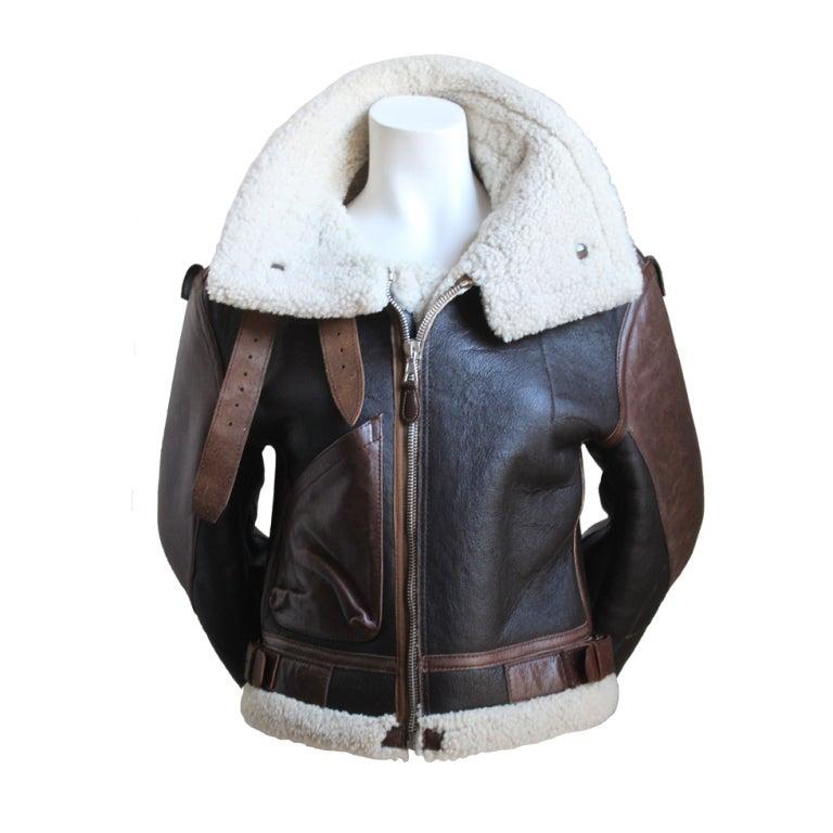 very rare BALENCIAGA fall 2003 cropped shearling aviator coat For Sale