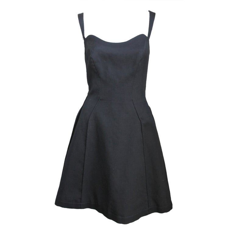 *SALE* THIERRY MUGLER black Piqué flared dress For Sale