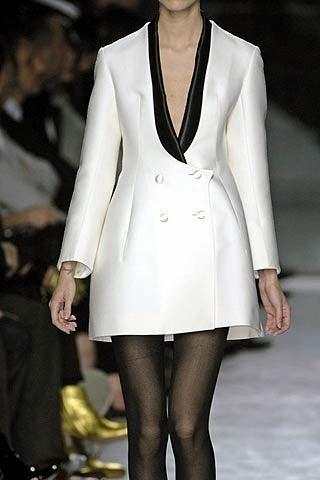 YVES SAINT LAURENT ivory wool tuxedo dress with black silk 4